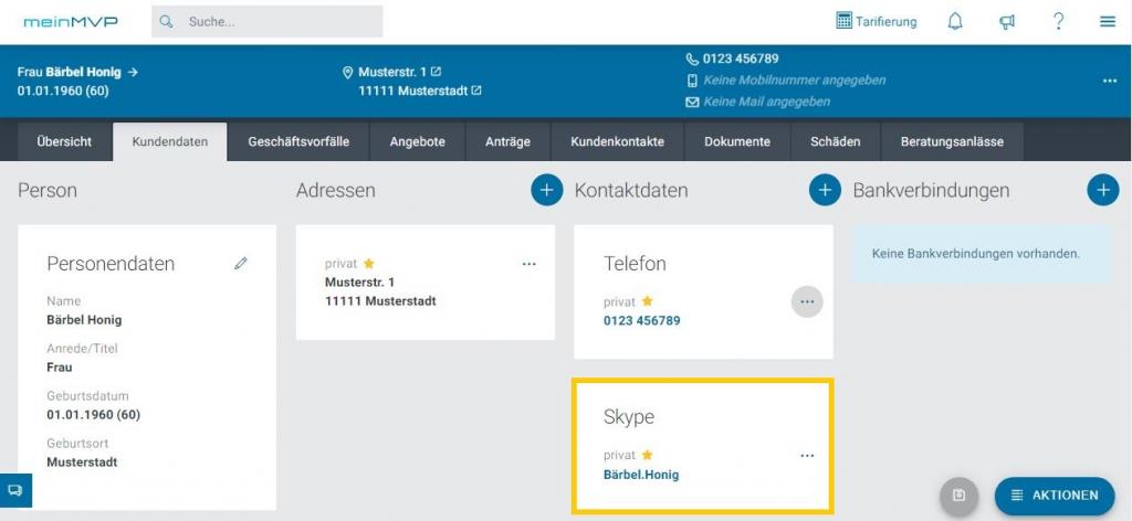 Videotelefonie - das bietet Ihnen meinMVP mit Skypelink